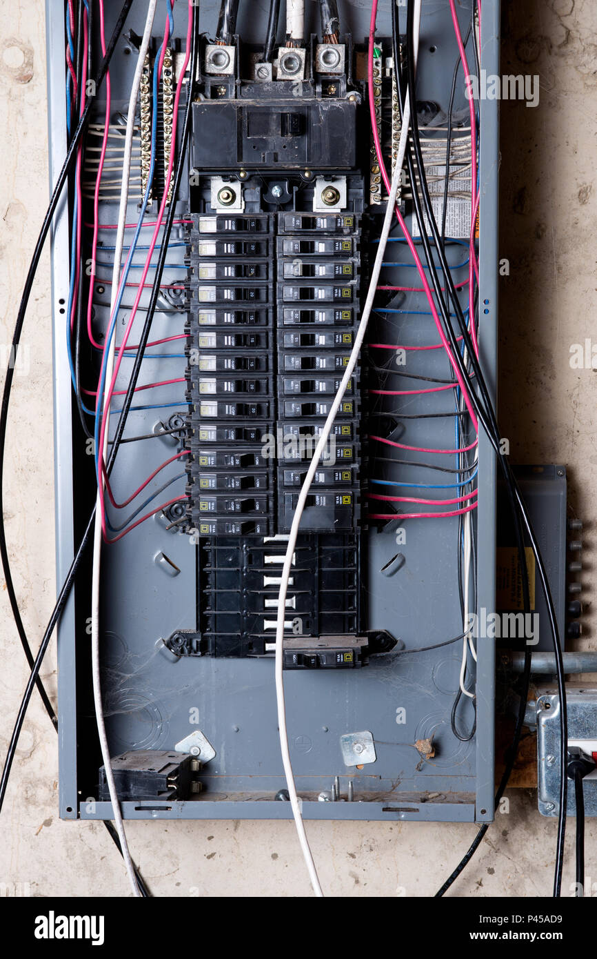 hight resolution of electrical service panel and branch circuit wiring in the basement of house under remodeling