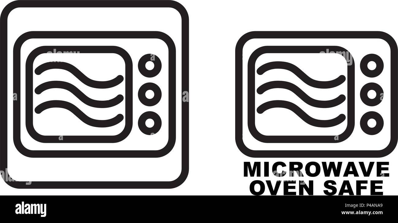 https www alamy com microwave safe container icon simple black lines oven drawing with three wave curves inside graphic symbol only and also version with text image209219313 html