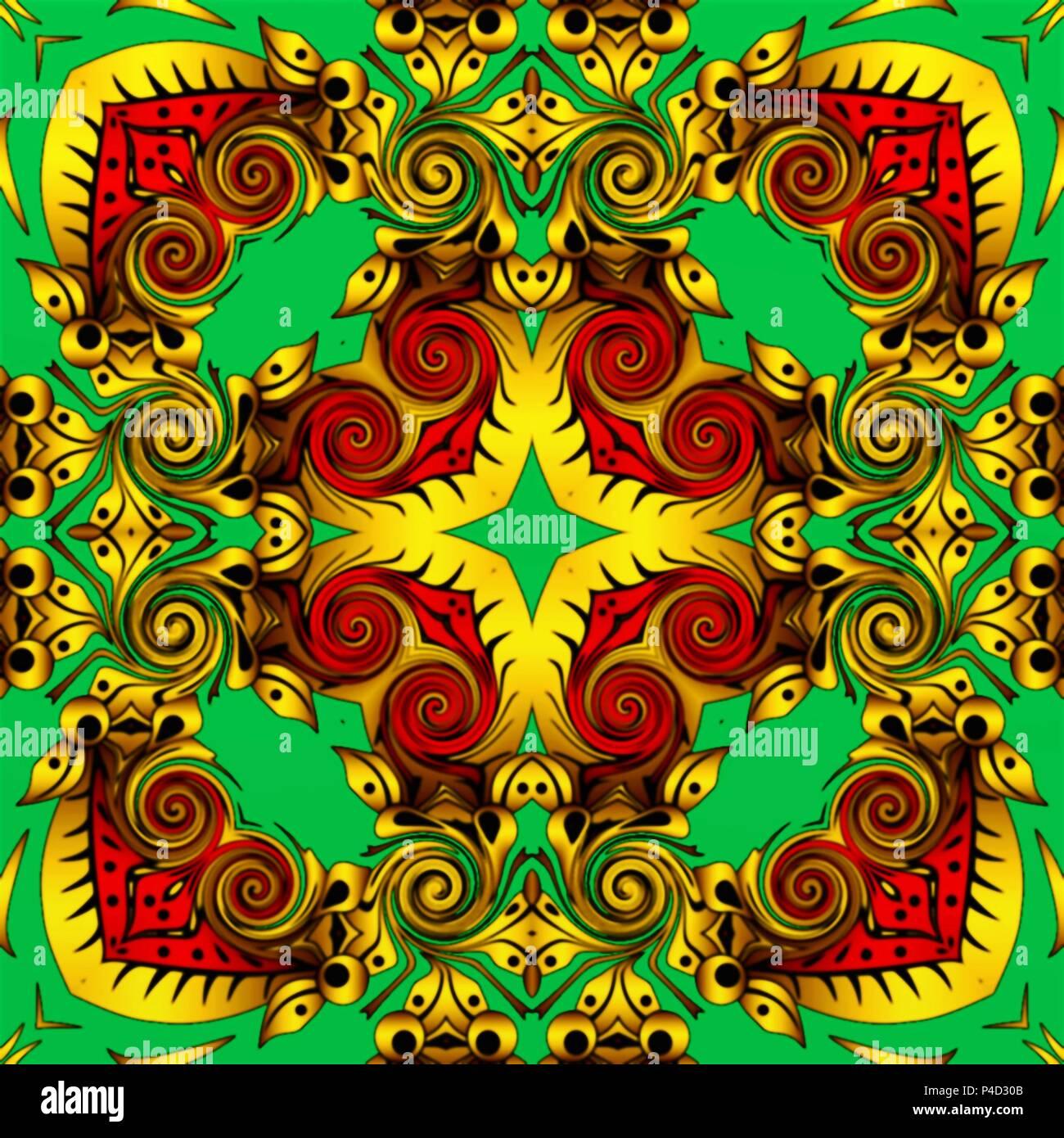 Abstract Geometry Of Modern Art Mystical Eastern Mandala Floral Kaleidoscope Traditional