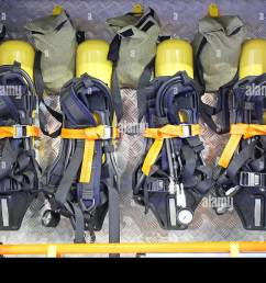 self contained breathing apparatus with compressed air for firefighters stock image [ 1300 x 990 Pixel ]