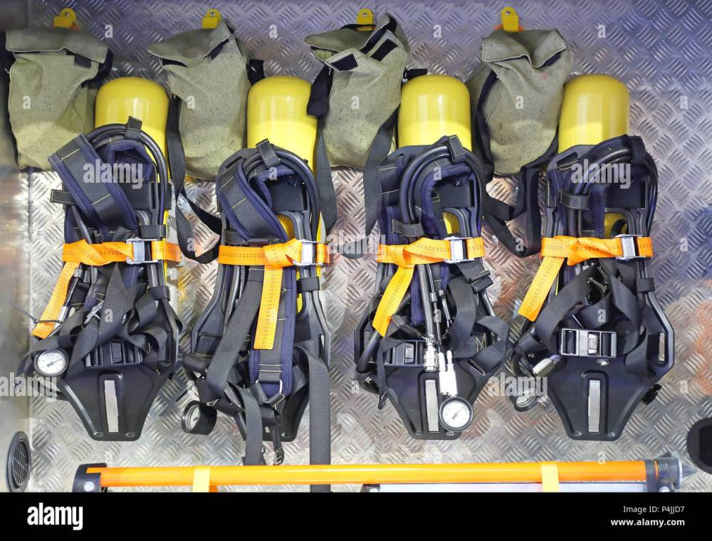 medium resolution of self contained breathing apparatus with compressed air for firefighters stock image
