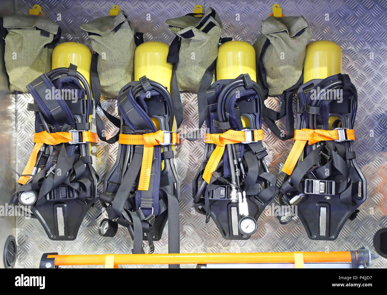 hight resolution of self contained breathing apparatus with compressed air for firefighters stock image