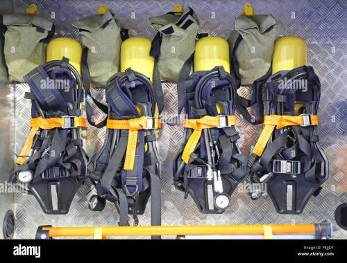 small resolution of self contained breathing apparatus with compressed air for firefighters stock image