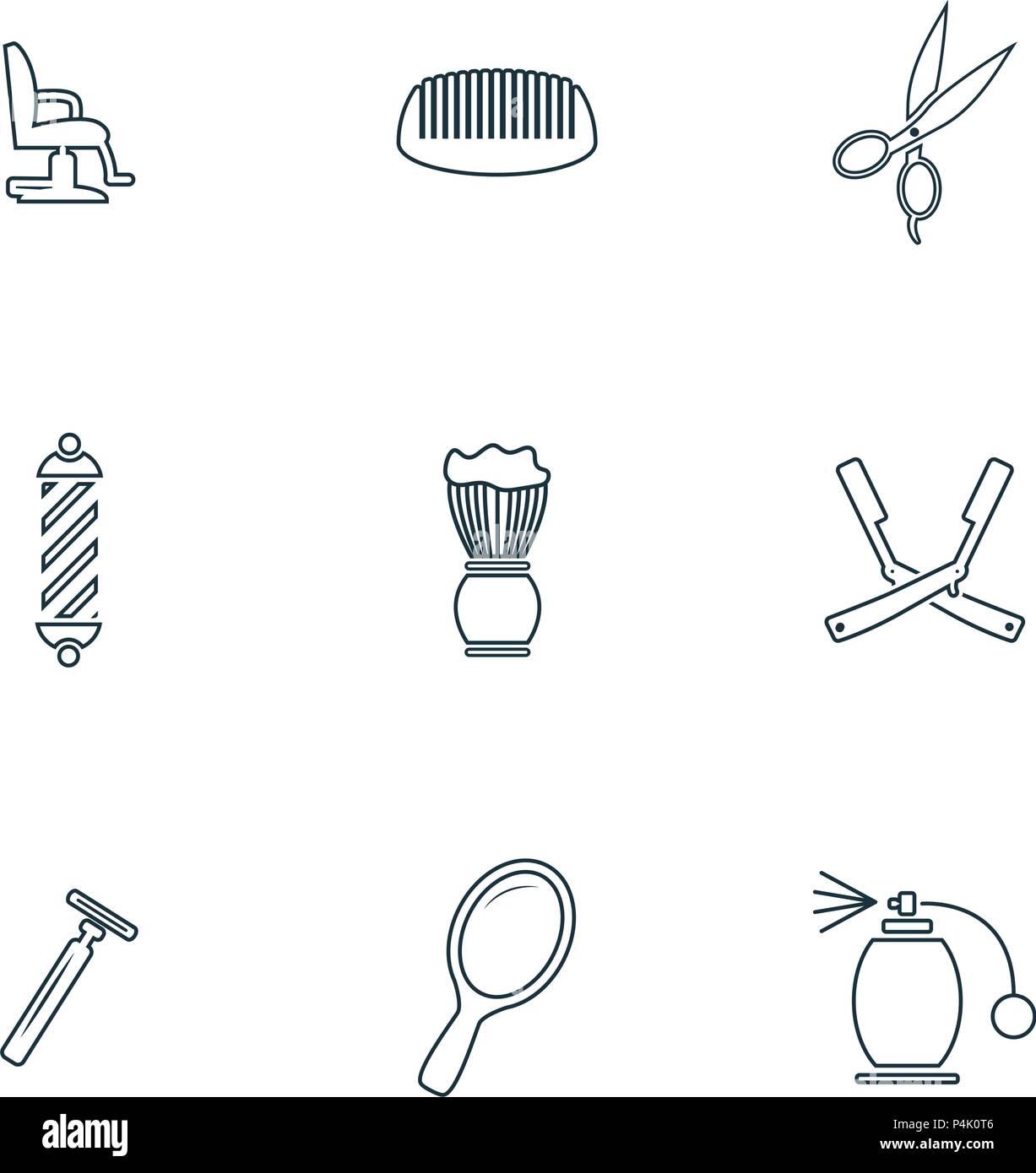 barbershop icons set foam