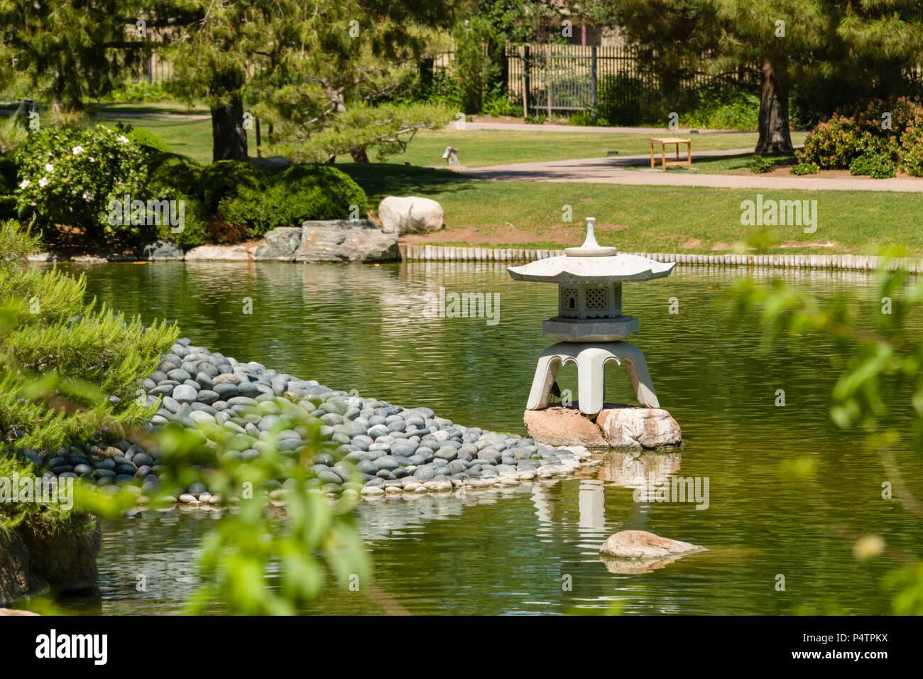 Japanese Friendship Garden Koi Pond And Stone Lantern Stock Photo Alamy