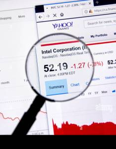 Montreal canada june intel corporation intc ticker with shares price and charts under magnifying glass on yahoo finance also rh alamy
