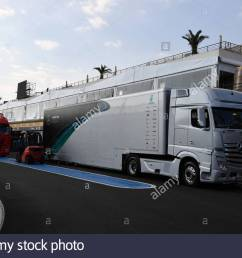 circuit paul ricard france june 19 mercedes amg f1 truck during the french [ 1300 x 956 Pixel ]