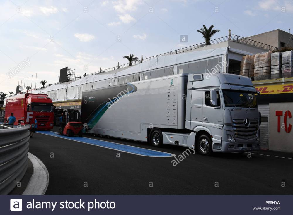 medium resolution of circuit paul ricard france june 19 mercedes amg f1 truck during the french