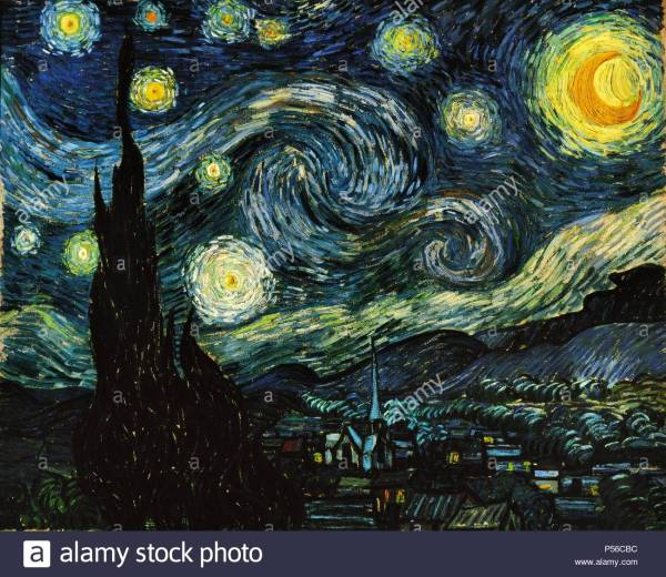 Van Gogh Painting Starry Night Stock &