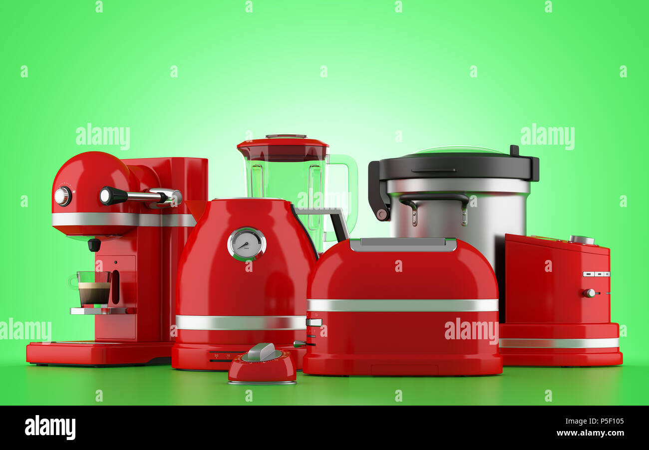 red kitchen appliances tiles for isolated on green background 3d illustration