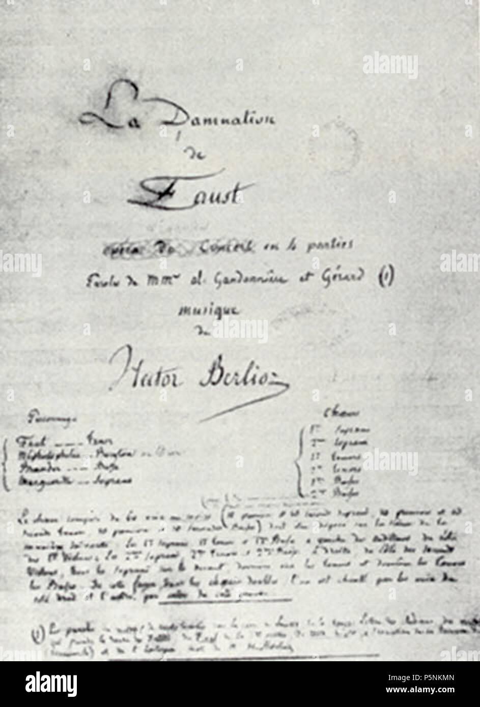 La Damnation De Faust Berlioz : damnation, faust, berlioz, First, Original, Manuscript, Damnation, Faust, French, Composer, Hector, Berlioz, 1846., (1803–1869), Alternative, Names, Louis, Description, Composer,, Journalist,