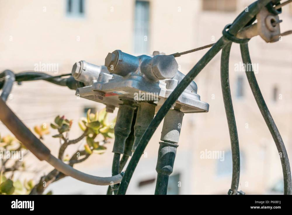 medium resolution of closeup of a coaxial coax cable television tv junction box malta stock image