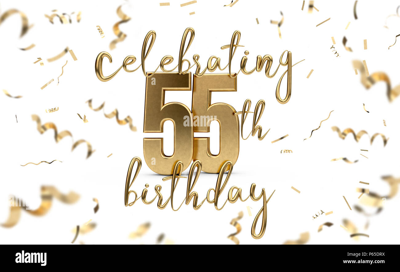 https www alamy com celebrating 55th birthday gold greeting card with confetti 3d rendering image210332974 html