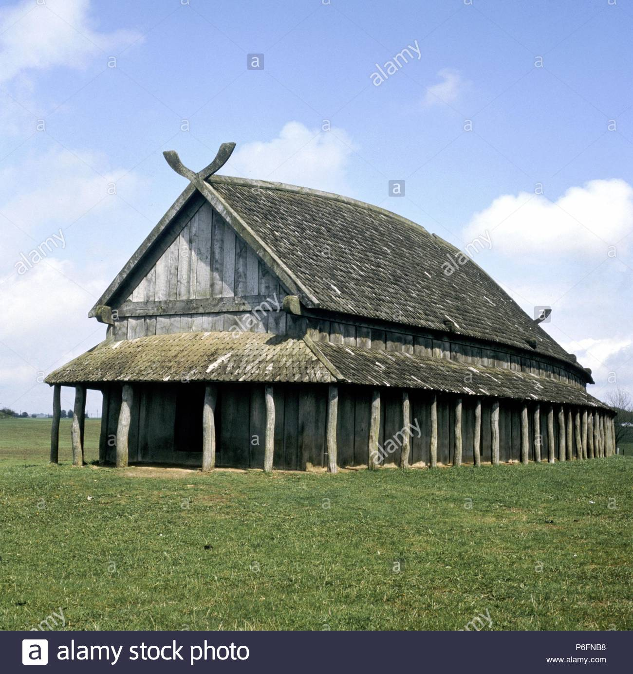Viking Longhouse Reconstruction At Telleborg Sweden Stock