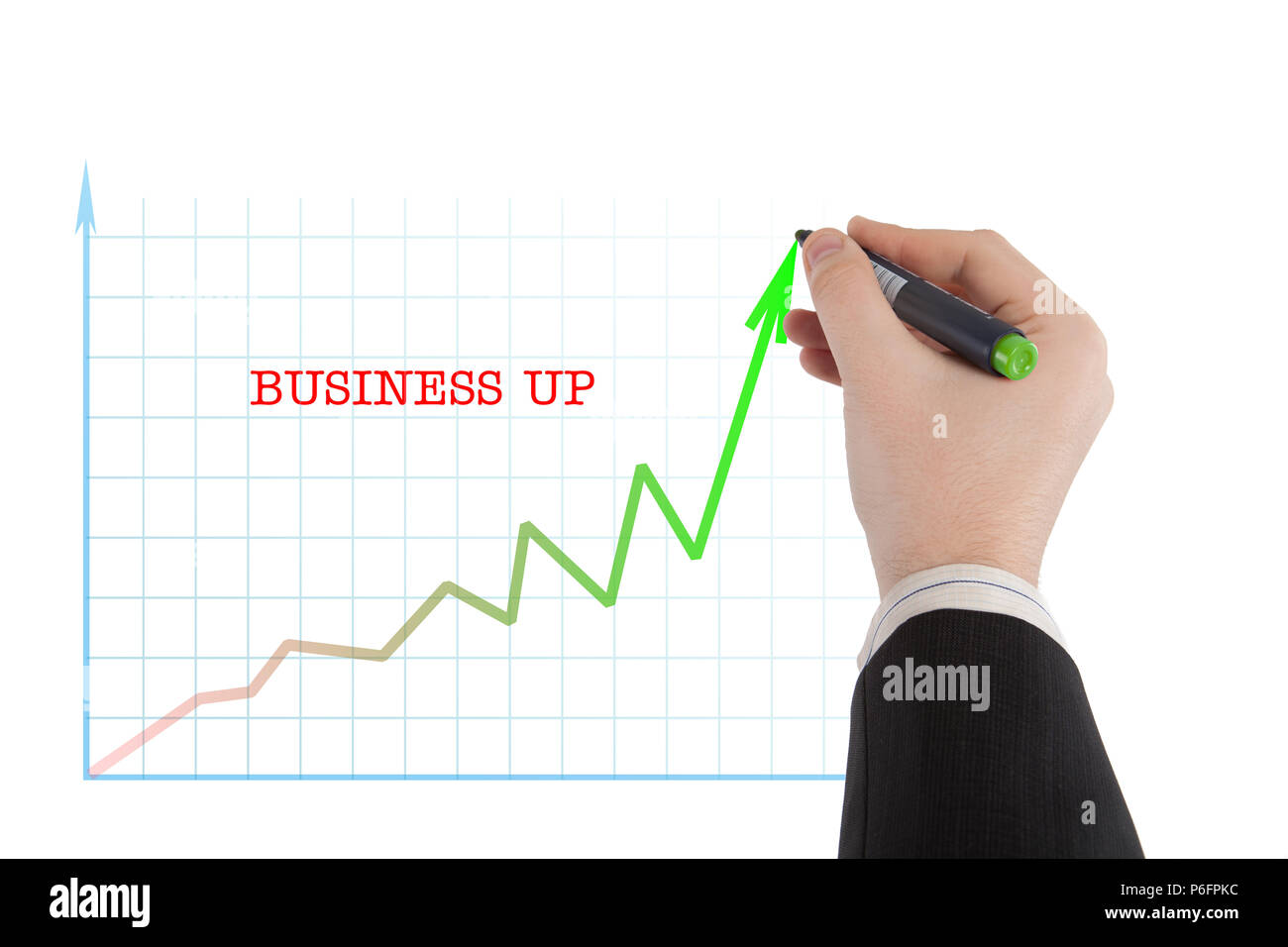 hight resolution of diagram with the word business up and the person starts to write by marker
