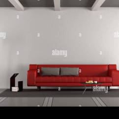 Red Sofa White Living Room Decor Modern Minimalist With Against Wall 3d Rendering