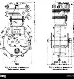 1904 white poppe motorcycle engine elevations  [ 1300 x 1251 Pixel ]