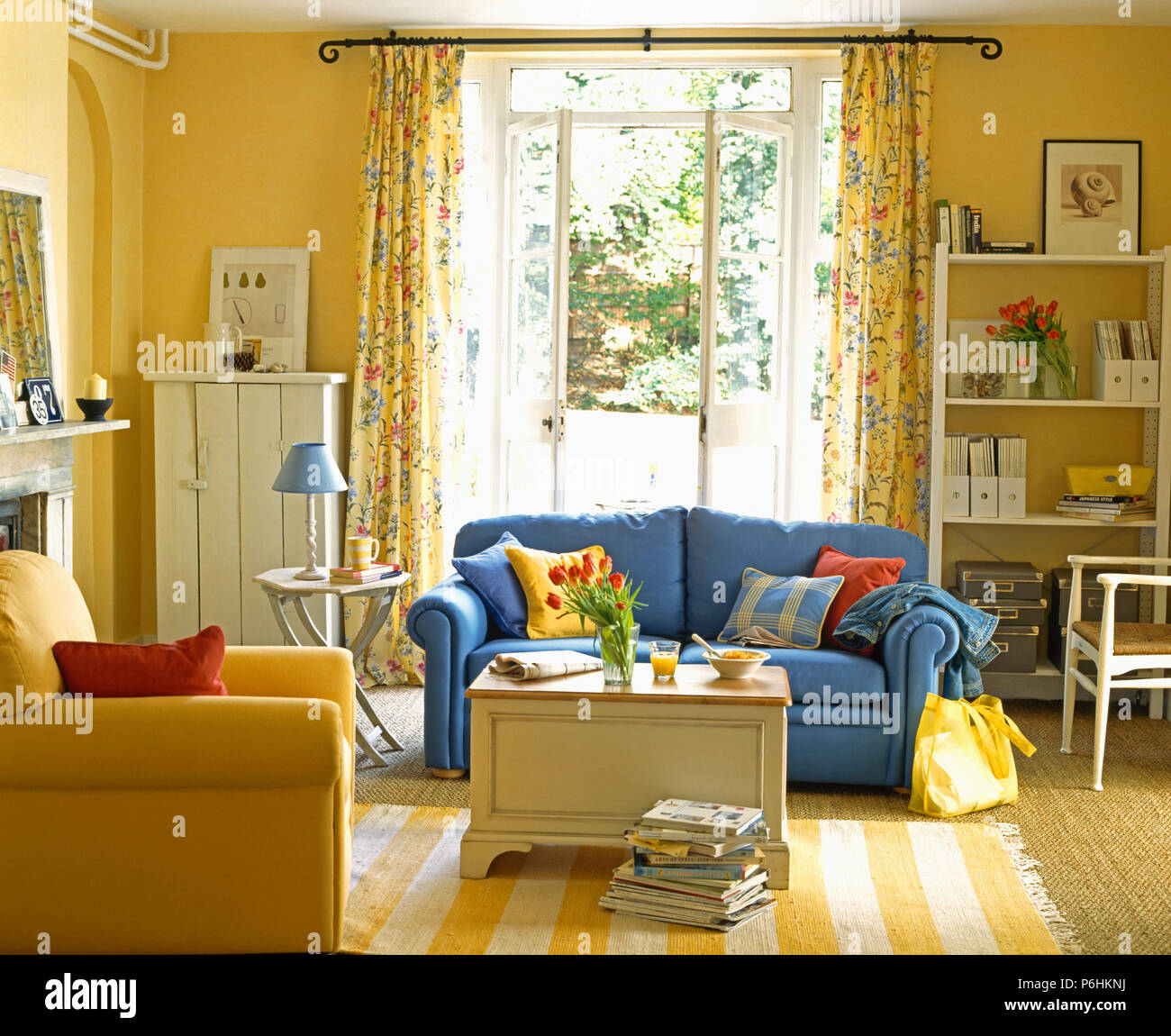 yellow living room rugs purple furniture sofas blue sofa and striped rug in with painted chest french windows floral curtains