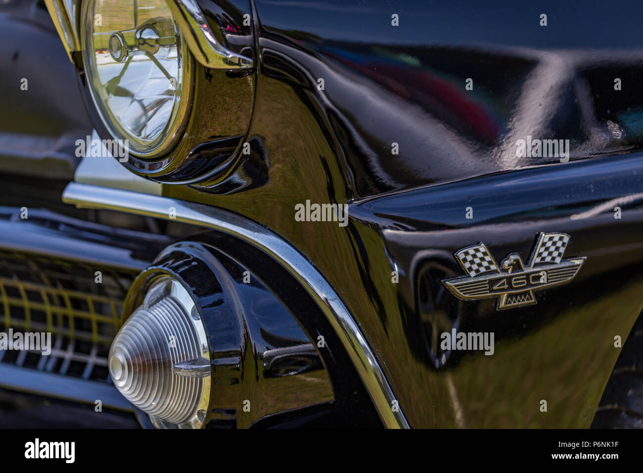 hight resolution of shallow depth of field closeup of the front end on a 1955 ford fairlane crown victoria