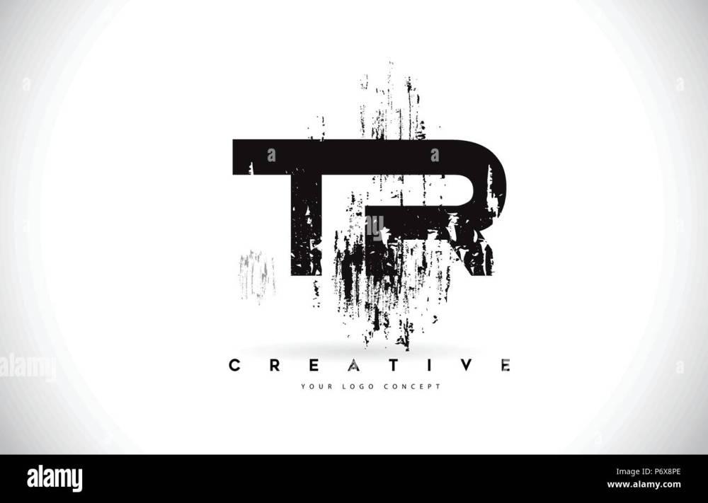 medium resolution of tr t r grunge brush letter logo design in black colors creative brush letters vector illustration