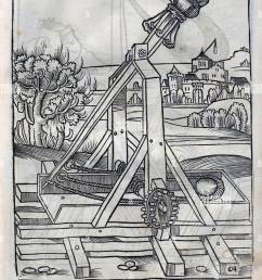 16th century depiction of a counterweight trebuchet [ 914 x 1390 Pixel ]