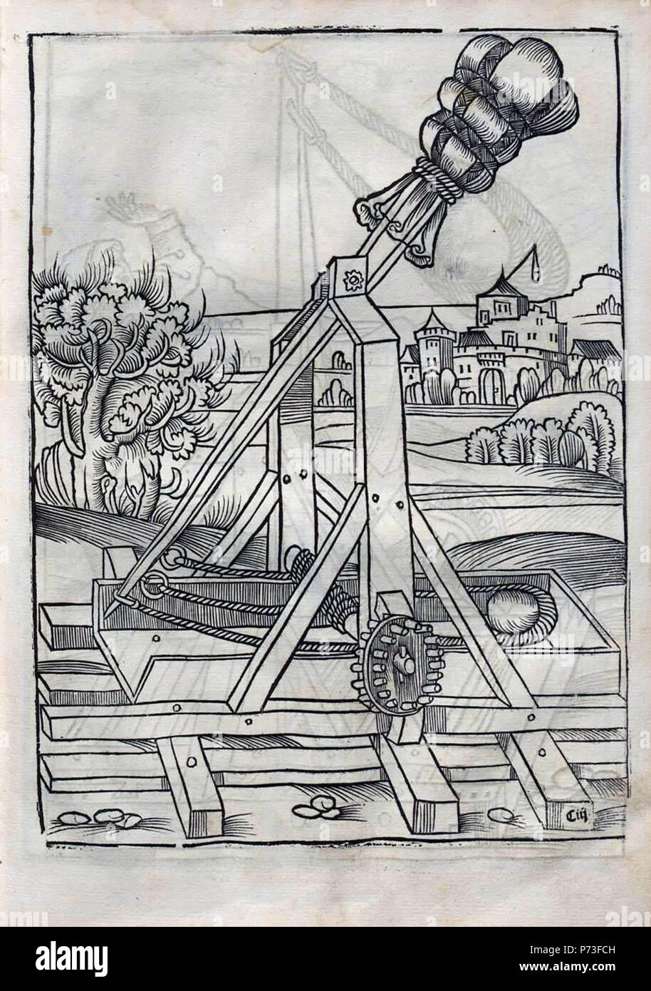 hight resolution of 16th century depiction of a counterweight trebuchet