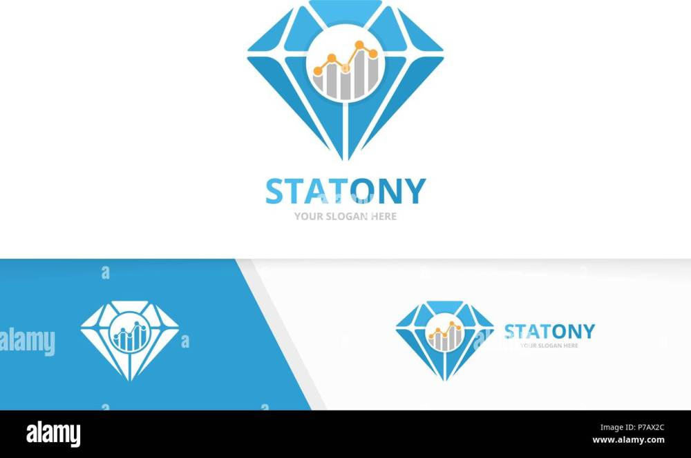 medium resolution of vector diamond and graph logo combination jewelry and diagram symbol or icon unique gem and chart logotype design template