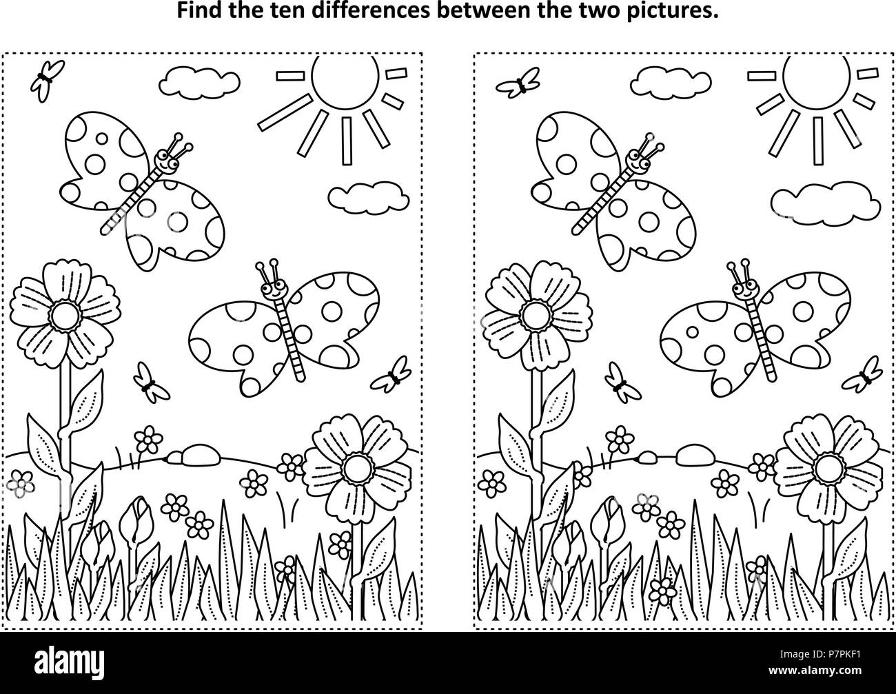 Spring Or Summer Joy Themed Find The Ten Differences