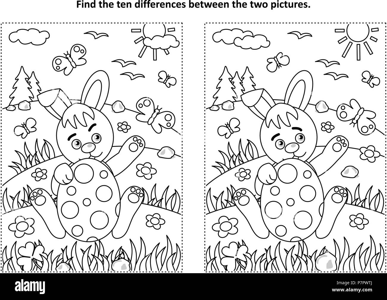 Easter Holiday Themed Find The Ten Differences Picture