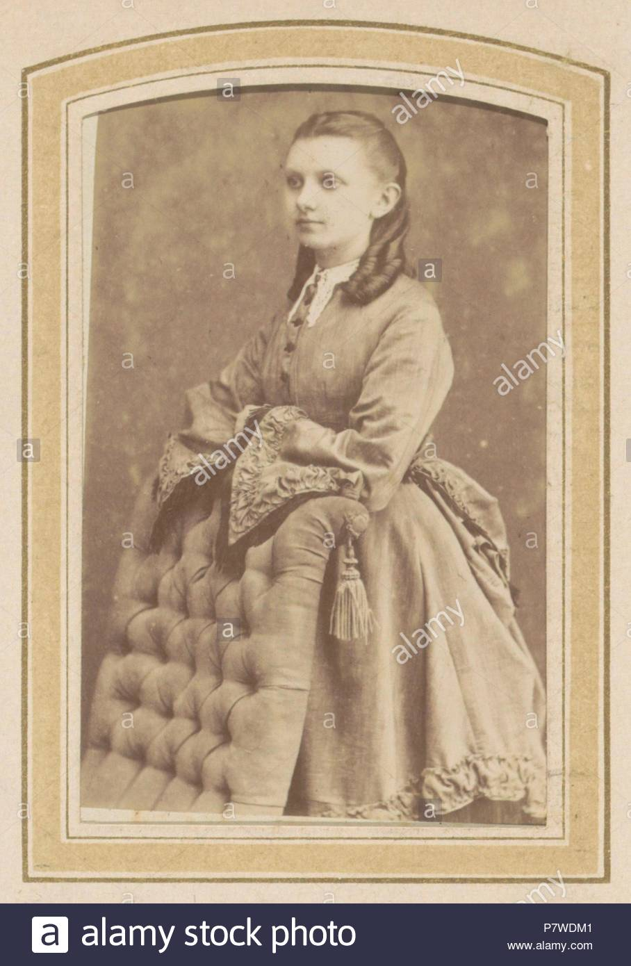 a chairde kitchen chair cushions walmart portrait of young woman in dress leaning on de lavieter co 1870 c 1900