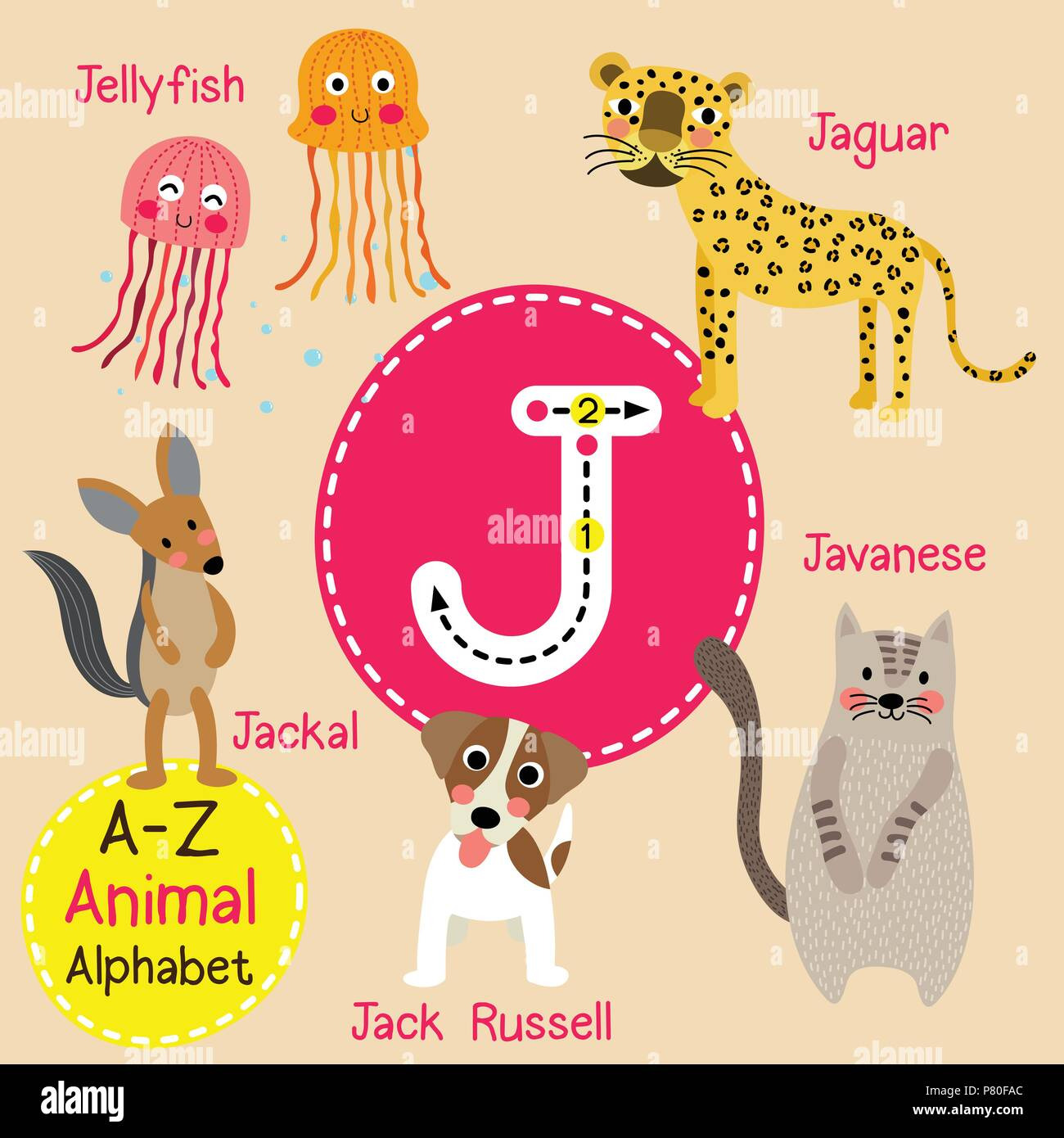 Cute Children Zoo Alphabet J Letter Tracing Of Funny