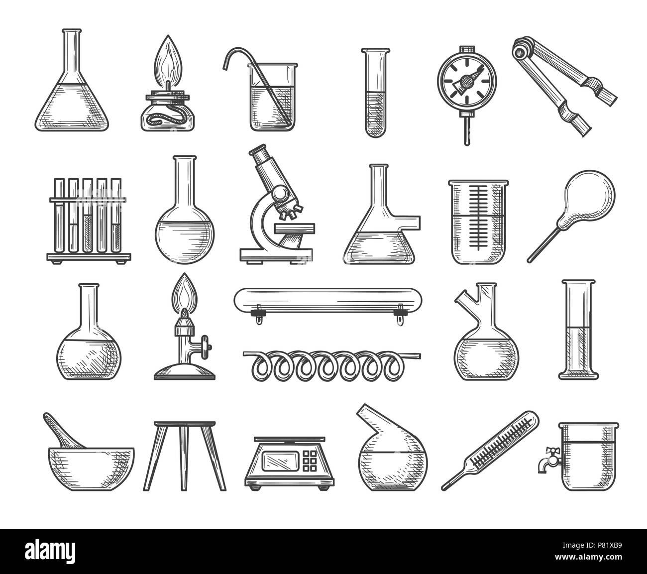 Hand Draw Chemistry Background Black And White Stock
