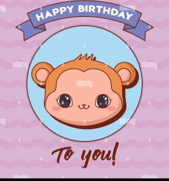 happy birthday design with cute monkey icon and decorative ribbon over purple background colorful design [ 1169 x 1390 Pixel ]