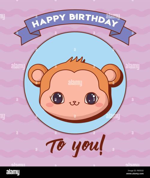 small resolution of happy birthday design with cute monkey icon and decorative ribbon over purple background colorful design