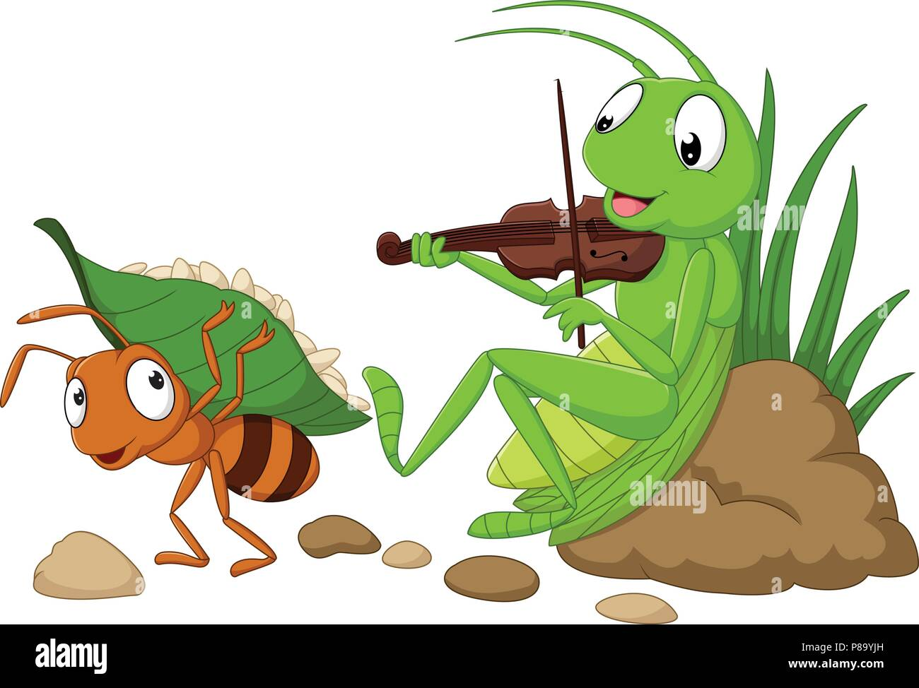 Cartoon The Ant And The Grasshopper Stock Vector Art