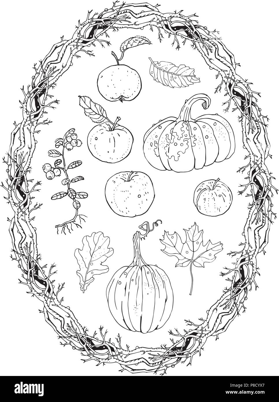 medium resolution of autumn harvest clipart set oval wreath branches frame pumpkins apples lingonberry oak maple falling leaves fall seasonal decoration coloring p