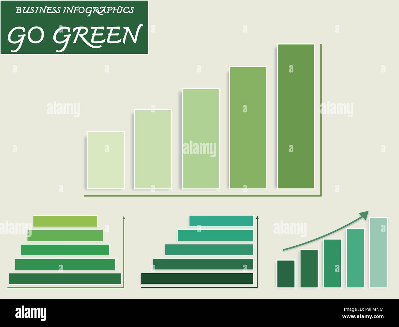 hight resolution of business and marketing go green concepts vector set of green bar charts and steps of pyramid diagram infographics background or template diagram with