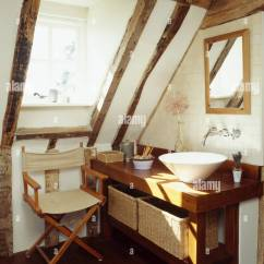 Folding Chair For Bathroom Pottery Barn Covers Megan Contemporary Basin Unit And In White Beamed Under Eaves Of A Period Conversion