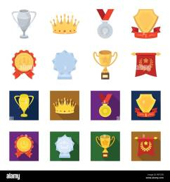an olympic medal for the first place a crystal ball a gold cup on a stand a red pendant awards and trophies set collection icons in cartoon flat st [ 1300 x 1390 Pixel ]