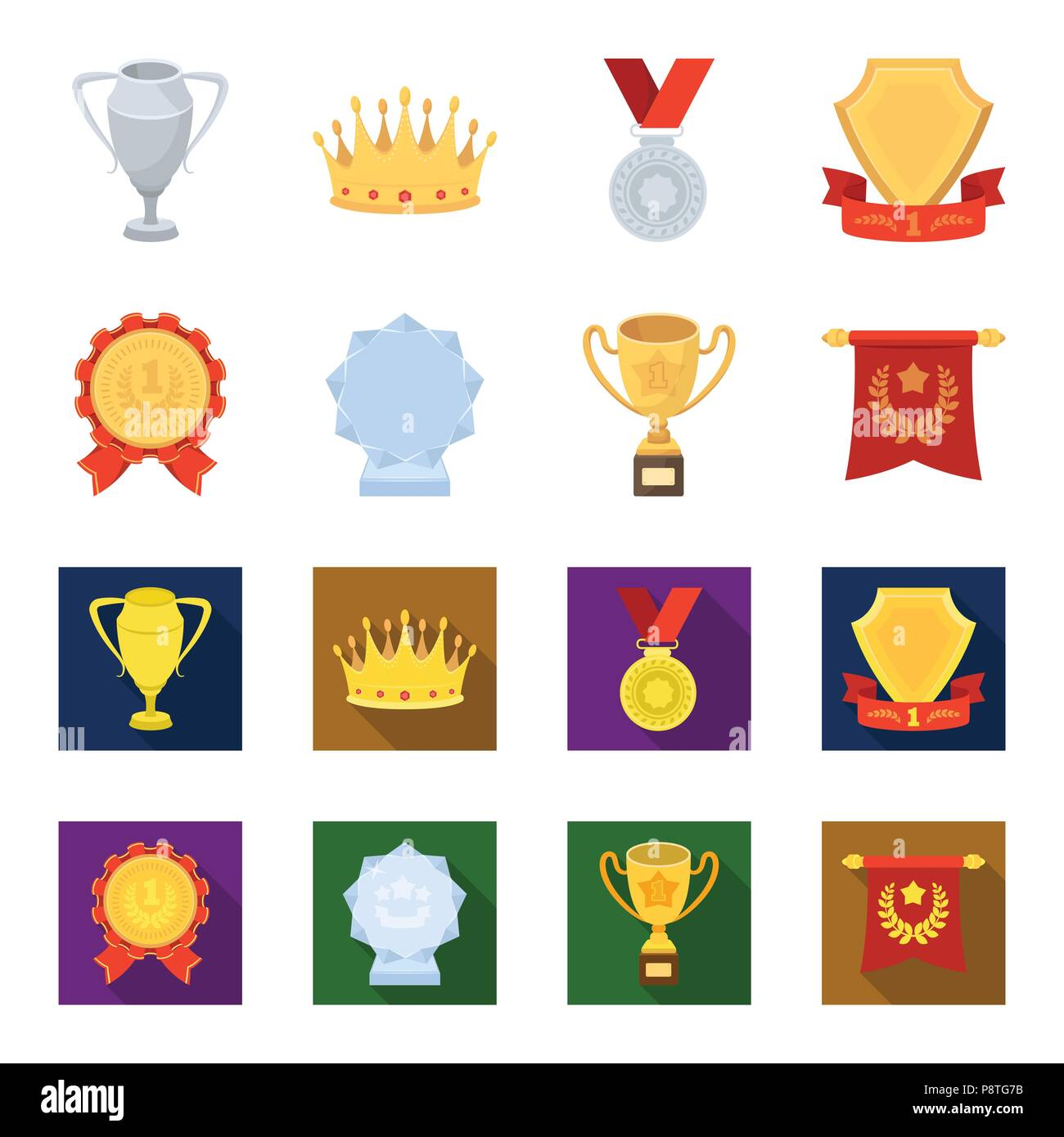 hight resolution of an olympic medal for the first place a crystal ball a gold cup on a stand a red pendant awards and trophies set collection icons in cartoon flat st
