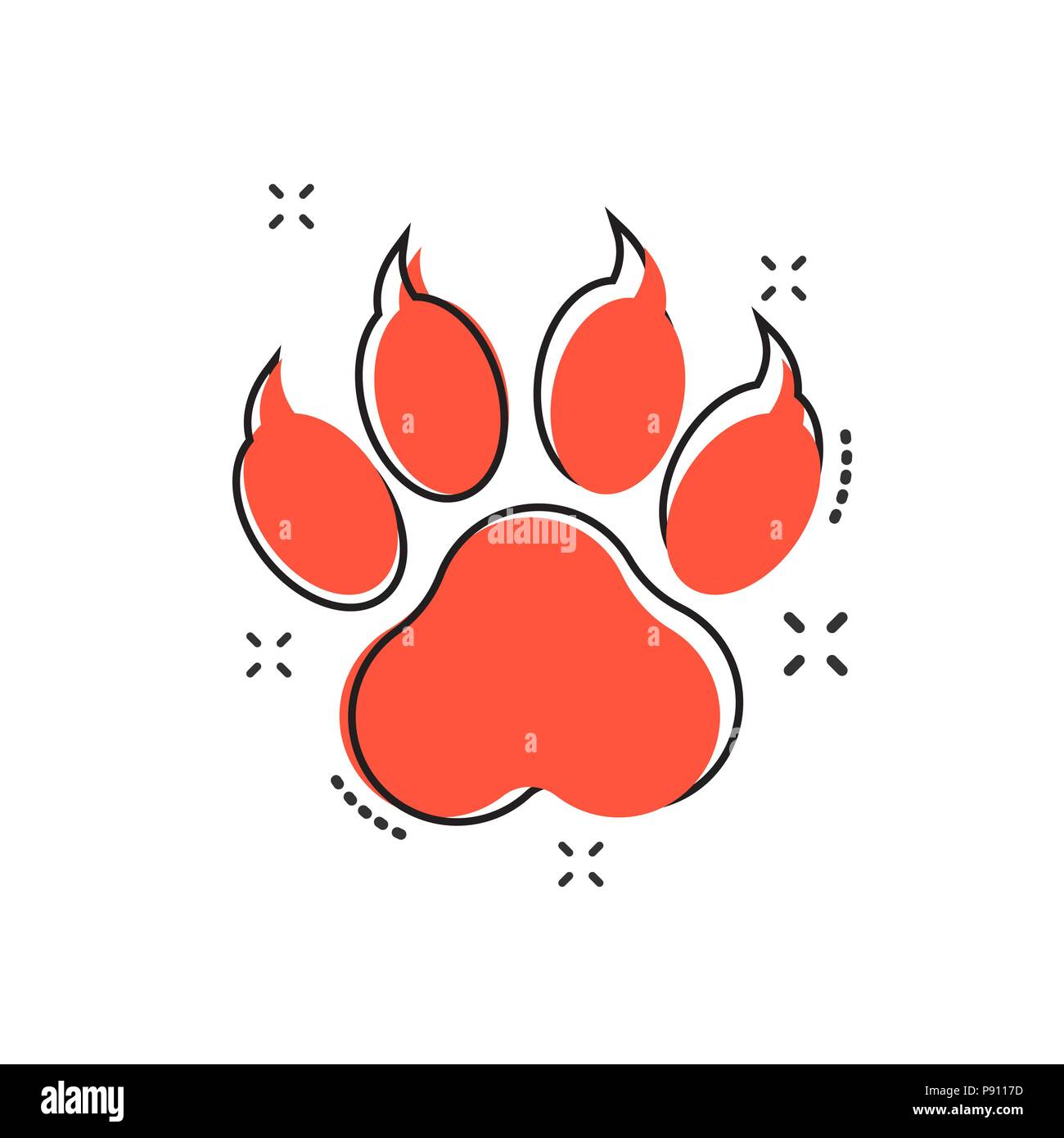 hight resolution of vector cartoon paw print icon in comic style dog cat bear paw sign illustration pictogram animal foot business splash effect concept