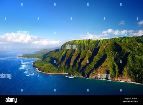 Beautiful Aerial View Of Spectacular Na Pali Coast Kauai