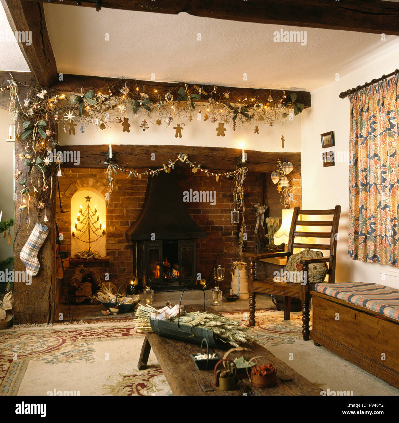 how to decorate a living room with wood burning stove decorating ideas for my small home made christmas decorations on beam above fireplace in cottage