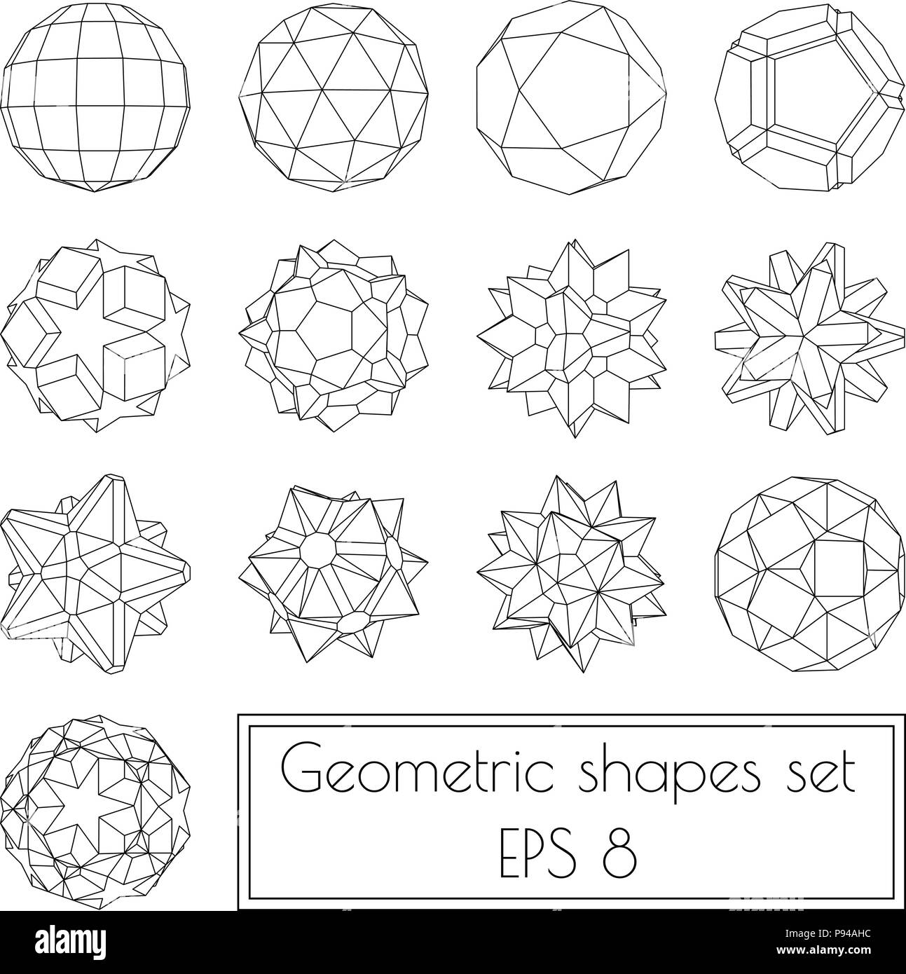 Collection Of 13 3d Geometric Shapes Stock Vector Art
