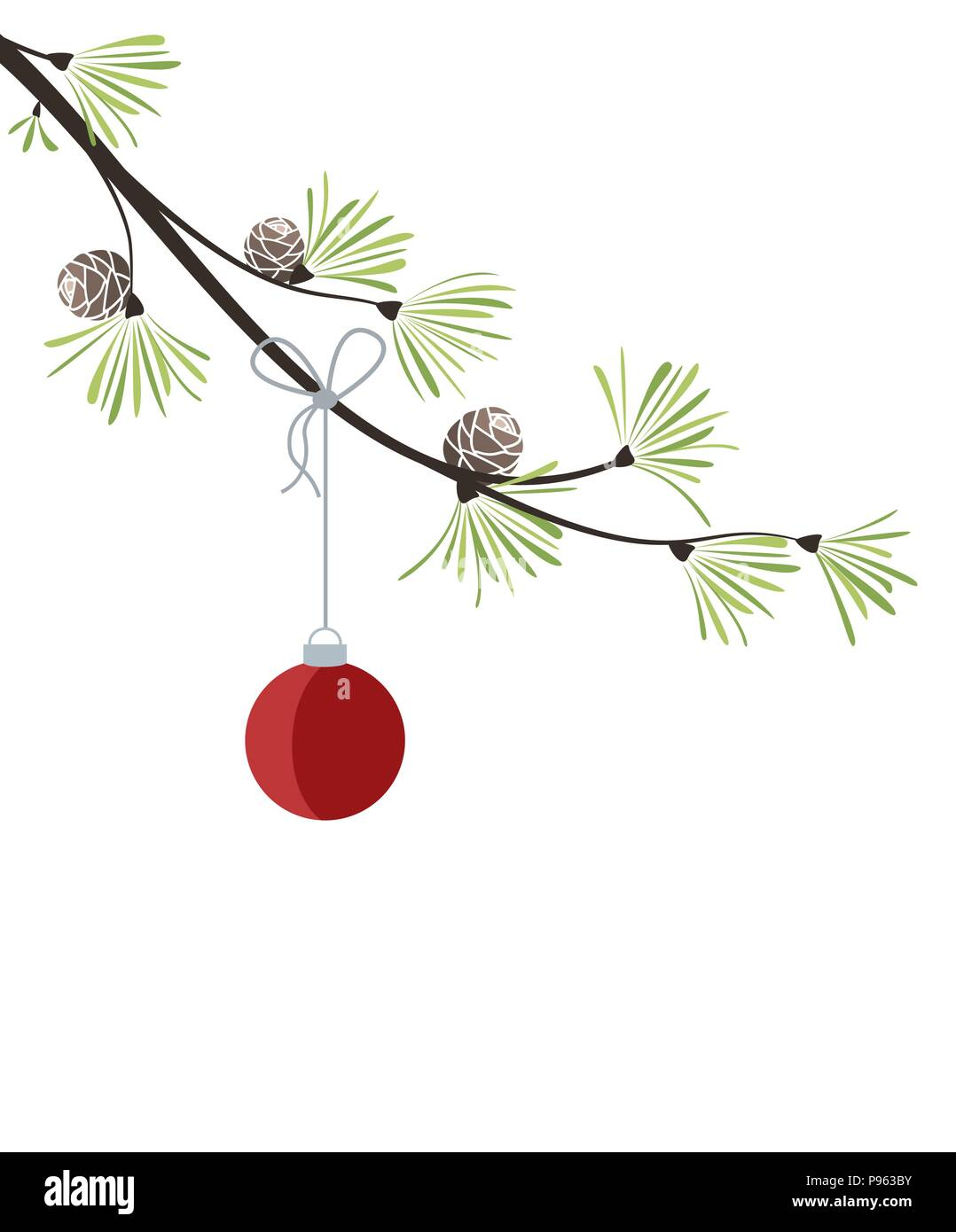 Vector Illustration Of Christmas Decorations With Branches