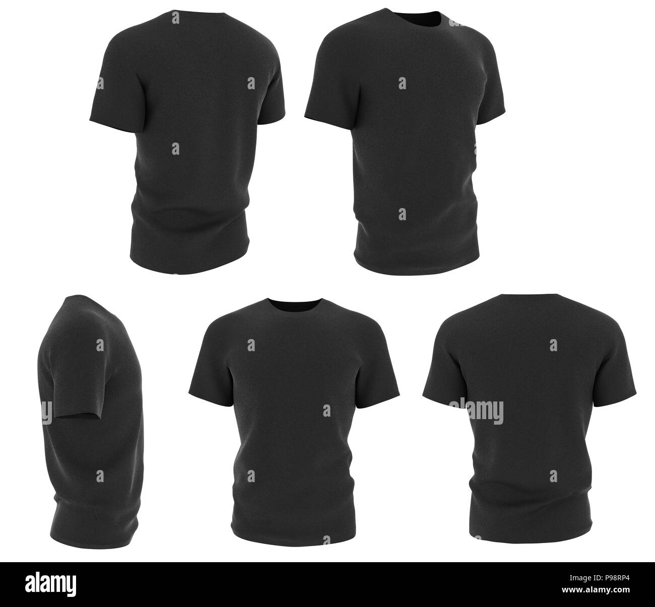 Set Of Man Black T Shirts Design Template Isolated On White Background 3d Render Stock Photo Alamy