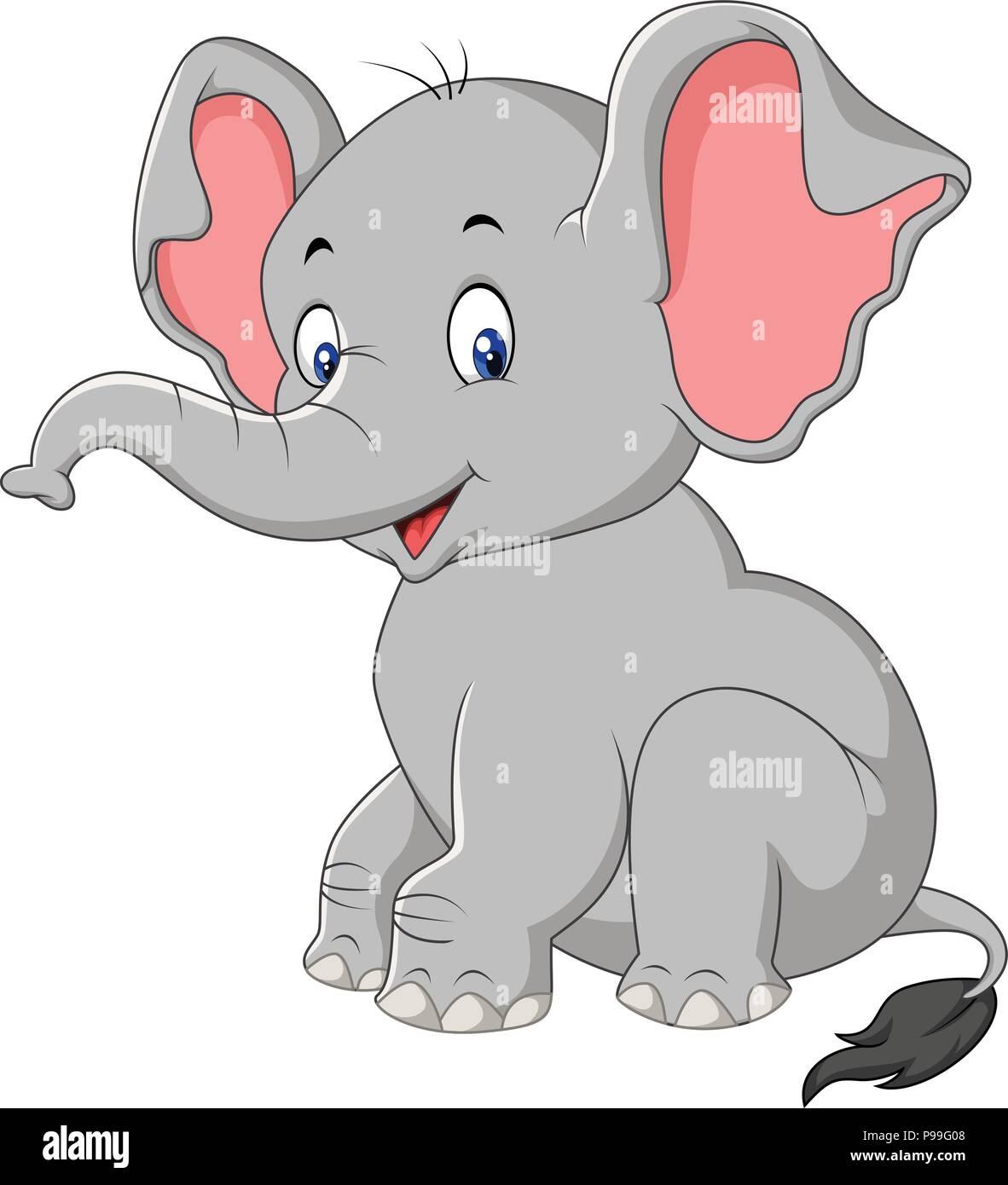 Cartoon Cute Baby Elephant Sitting Stock Vector Image Art Alamy