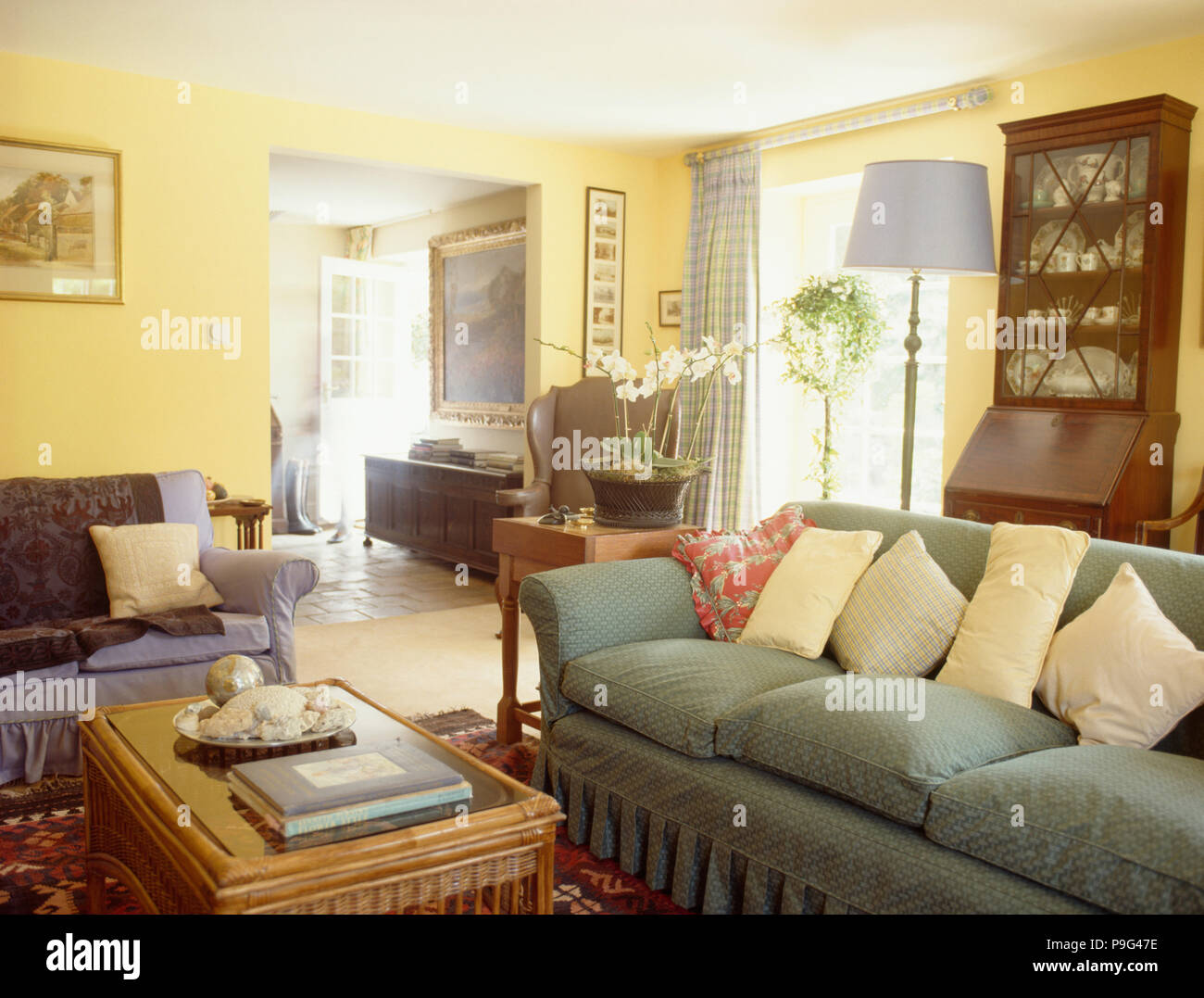 green cushions living room victorian style pastel yellow on pale sofa in country with open doorway to hall