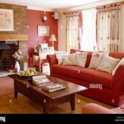 Red Sofa White Living Room Floor Vases For Uk Wooden Coffee Table And With Cushions In A Country One Wall