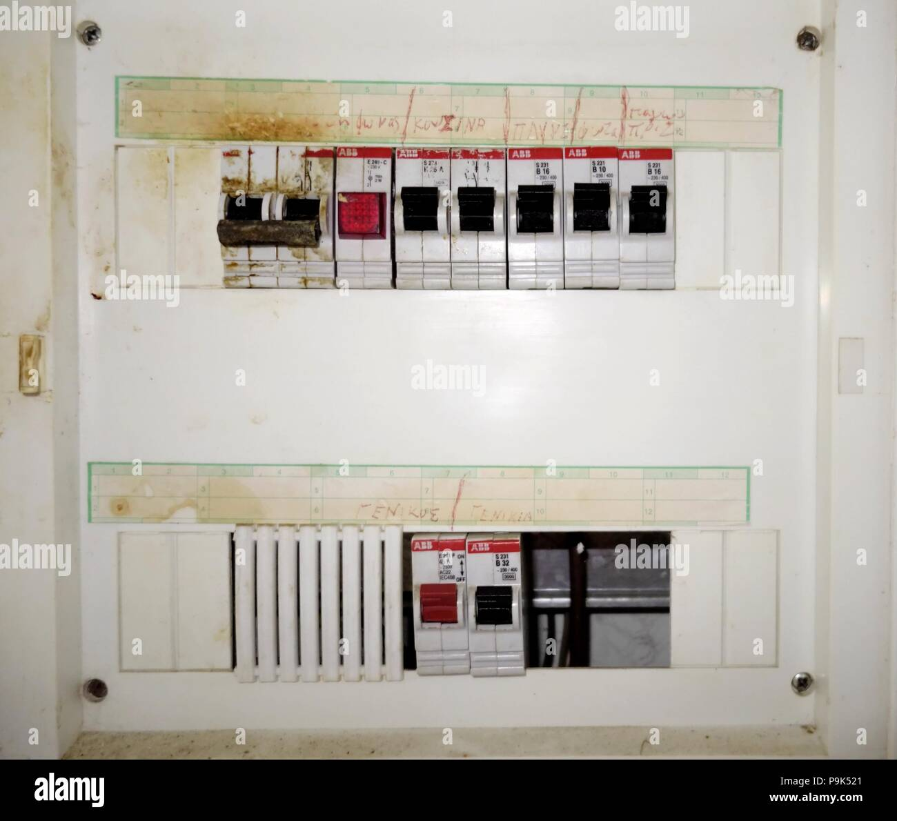 hight resolution of old greek fuse box stock image